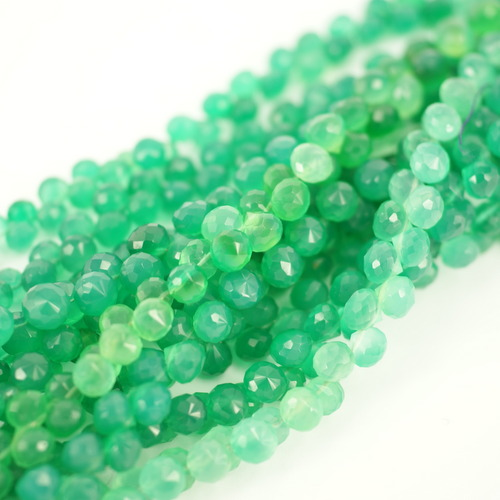 GREEN ONYX ONION FACETED BEADS