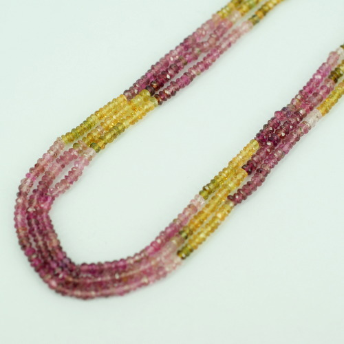 Yellow and Pink Tourmaline Rondelle Faceted Beads