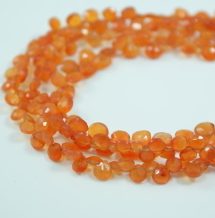 Carnelian Pear Faceted Beads