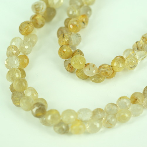 GOLDEN RUTILE ONION FACETED BEADS