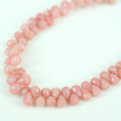 PINK PERUVIAN OPAL SIDE DRILL DROP BEADS