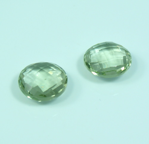 Green Amethyst  Coin Earring pair