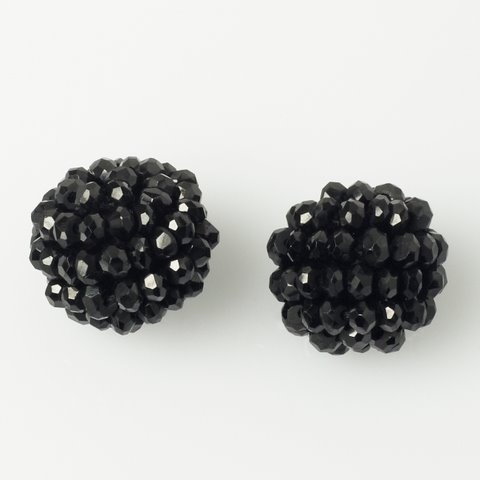 Black Spinel Ball Earring Set